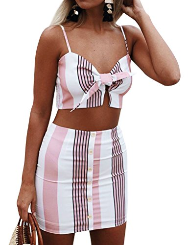 WLLW Women Spaghetti Strap Colorblock Knot Front Striped Two Pieces Dress Set Colorblock 2 Piece Dress