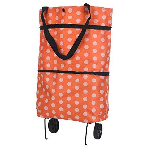 Folding Shopping Cart - Light Weight Trolley Dolly Transit Utility Cart - Shopping Grocery Foldable Cart (Orange)