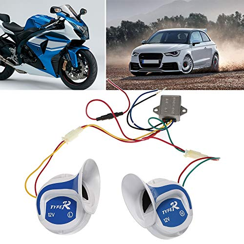 12V 3.5A High Low Sound Electric Snail Horn Keenso Universal Mini Loud Electronic Air Horn for Motorcycle Auto Car Scooter 115DB 510Hz Snail Siren Horn Speeker Waterproof