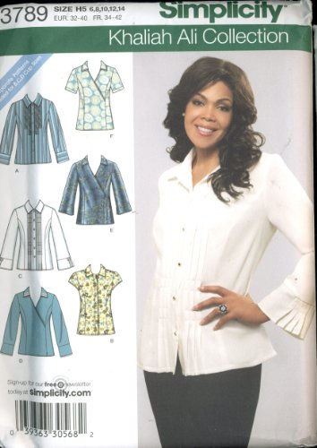 Simplicity Khaliah Ali Collection - Misses Shirts with Front Variations - Separate Pattern Pieces Included for B, C, D Cup Sizes - Size H5 (6, 8, 10, 12, 14) pattern # 3789 ()