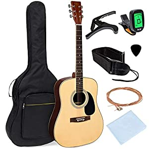 Best Choice Products 41in Full Size All-Wood Acoustic Guitar Starter Kit w/Foam Padded Gig Bag, E-Tuner, Picks, Guitar Strap, Extra Strings, Polishing Cloth - Natural