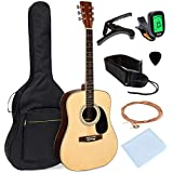 Best Choice Products 41in Full Size All-Wood Acoustic Guitar Starter Kit w/ Foam Padded Gig Bag, E-Tuner, Pick, Strap, Extra Strings, Polishing Rag - Natural