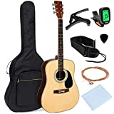 Best Choice Products 41in 21-Fret Full Size All-Wood Acoustic Guitar Starter Kit w/Foam Padded Gig Bag, E-Tuner, Picks, Guitar Strap, Extra Strings, Polishing Cloth - Natural