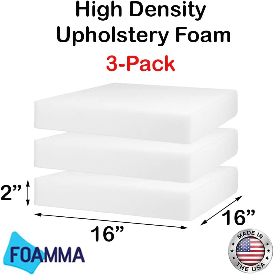 4-Pack 2 x 16 x 16 HD Upholstery Foam High Density Foam Chair Cushion Square Foam for Dinning Chairs, Wheelchair Seat Cushion Replacement FOAMMA