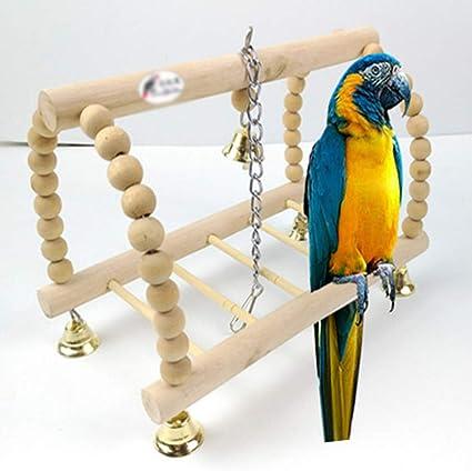 XDYFF Soporte Madera Jaula pájaros Escuadra de pórtico Cuadrada Escalera aérea Pájaro Escalada Rueda de diversión Escalera giratoria Juguete Eslinga,Flesh: Amazon.es: Deportes y aire libre
