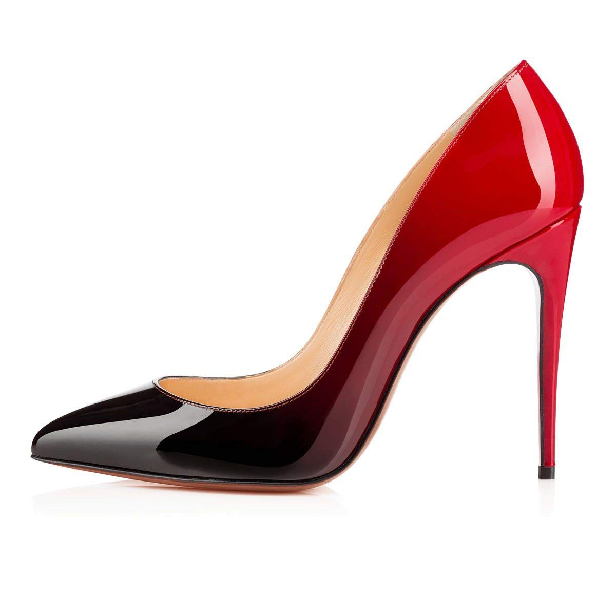 RedBlack Heels Addict's Women's shoes Pointed Toe Gradient Patent Leather Stiletto Heels Pumps