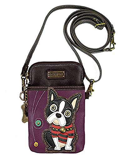 - Chala Crossbody Cell Phone Purse-Women PU Leather Multicolor Handbag with Adjustable Strap - Boston Terrier - Purple
