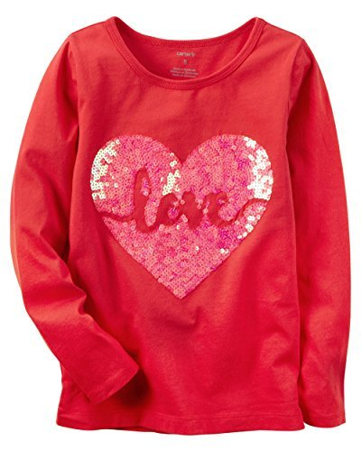 Carter's Girl Long-Sleeve Love Graphic Tee (5, Red)