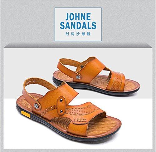 Xing Lin Sandalias De Hombre Los Hombres Sandalias De Playa Del Hombre Zapatos Sandalias Y Zapatillas Para Hombres Sandalias Open Toe Verano Antideslizante Impermeable, 44, Amarillo