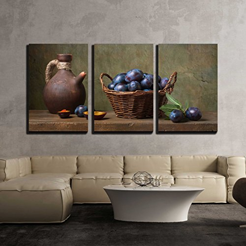 "wall26 - 3 Piece Canvas Wall Art - Still Life with Black Plums in a Basket on The Table - Modern Home Art Stretched and Framed Ready to Hang - 24""x36""x3 Panels"