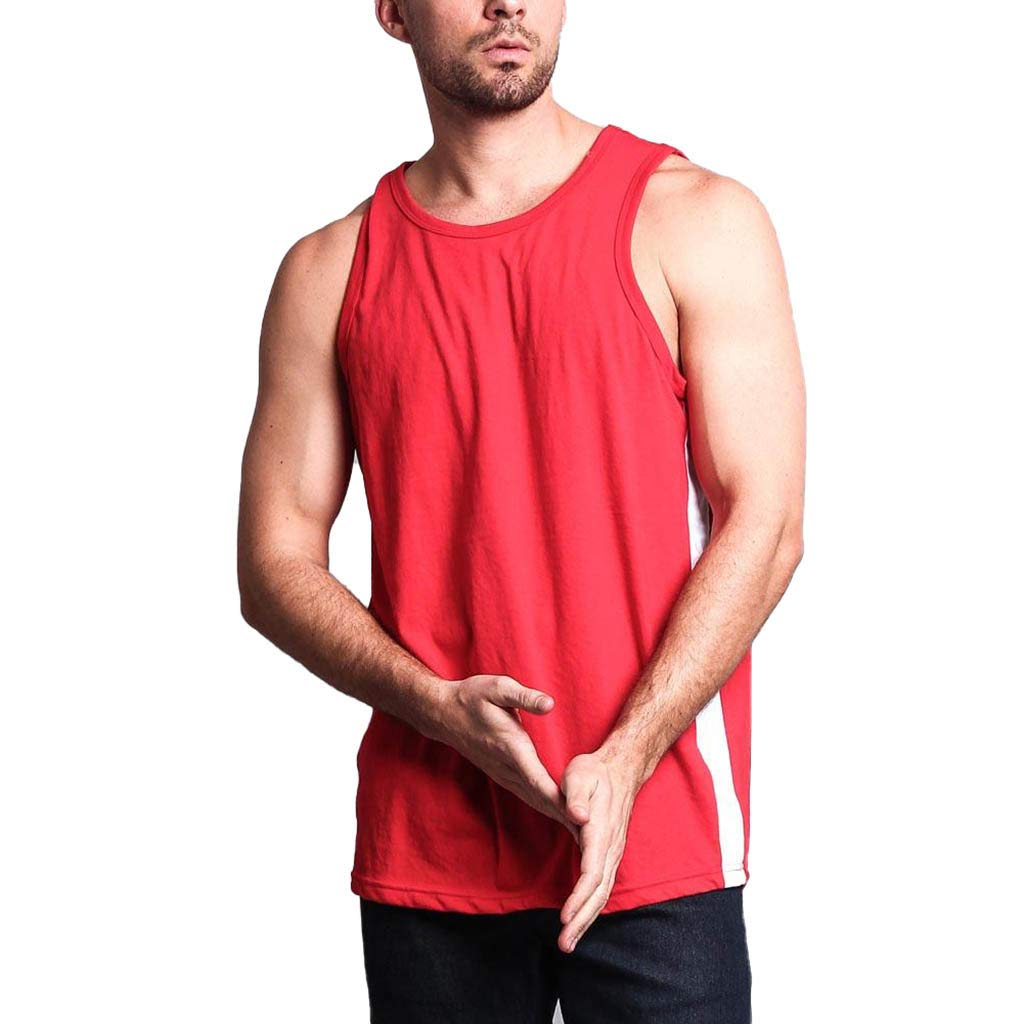 Tank Shirts Men Undershirts Pure Color Sports Vest Sleeveless Bodybuilding Tee Workout Shirt (XL, Red)