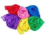 Play Scarves + Storage Bag for Easy Clean Up : Perfect for Kids Pretend and Creative Play , Dress Up and Childhood Fun , 35' Large Bundle of 6 Bright Colored Polyester Silks