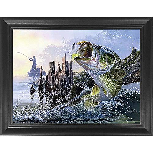 Bass Fishing 3D Poster Wall Art Decor Framed Print | 14.5x18.5 | Lenticular Posters & Pictures | Memorabilia Gifts for Guys & Girls Bedroom | Large Mouth Bass Jumping for Fishermans Lure