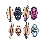 Flower-Bead work-Multi color-Wood-Stick-Hair-Barrette-Wholesale lot of 4 -Z-40-6,5,12,7