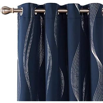 Deconovo Blackout Curtains Wave Striped Foil Print Room Darkening Grommet Blackout Curtain for Bedroom 52x84 Inch Navy Blue 2 Panels
