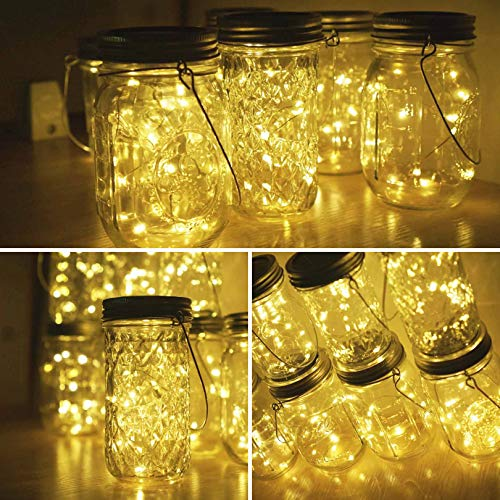 Miaro 6 Pack Mason Jar Lights, 10 LED Solar Warm White Fairy String Lights Lids Insert for Garden Deck Patio Party Wedding Christmas Decorative Lighting Fit for Regular Mouth Jars with Hangers by Miaro (Image #3)'