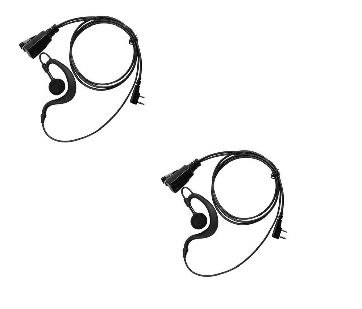 AAA ARAMA Arama 2 Pack Advanced G Shape Earpiece Headset with PTT and MIC Soft Ear Hook for 2 PIN Kenwood HYT Puxing Wouxun Baofeng Lt-2288 Lt-3107 Lt-3188 Lt-3260 Lt-3268 Two Way Radios A101K01