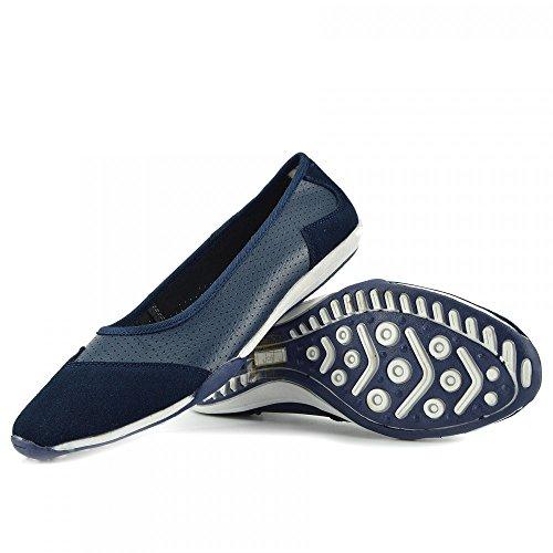 Mocassini Scarpe Ladies Nero Kick Del Di Footwear Nuove Donna Pompe Balletto Dolly Ballerina Piatto Marina F80261 P7pU7q