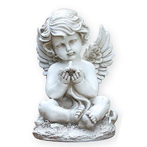 Sitting Cherub with Bird 9 Inch Resin Decorative Indoor Outdoor Garden Statue Figurine ()