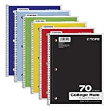 TOPS 1-Subject Notebooks, Spiral, 8'' x 10-1/2'', College Rule, Color Assortment May Vary, 70 Sheets, 4 Pack of 6 Notebooks (65007)