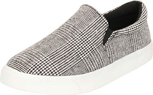 - Cambridge Select Women's Classic Round Toe Stretch Slip-On Flatform Fashion Sneaker,8 B(M) US,Black/White Plaid
