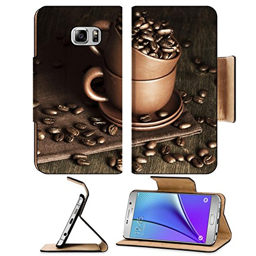 [MSD Premium Samsung Galaxy Note 5 Flip Pu Leather Wallet Case Note5 IMAGE 25799375 Roasted coffee beans in ceramic cups on vintage wooden background] (Linen Rose Saucer)