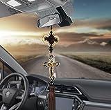 Car Pendants Auto Decoration Jesus Figurine Cross Hanging Automobiles Rear View Mirror Christian Suspension Decor Accessories