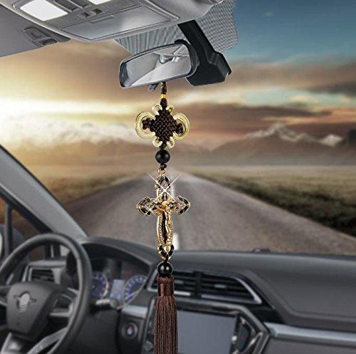Car Pendants Auto Decoration Jesus Figurine Cross Hanging Automobiles Rear View Mirror Christian Suspension Decor ()