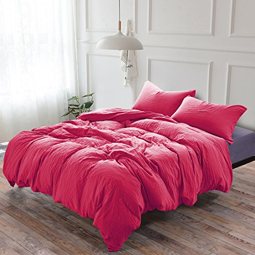 (3-Piece Duvet Cover Twin, 100% Washed Cotton Duvet Cover, Ultra-Soft Luxury & Natural Wrinkled Look, Bedding Set (Queen, Rose Red))