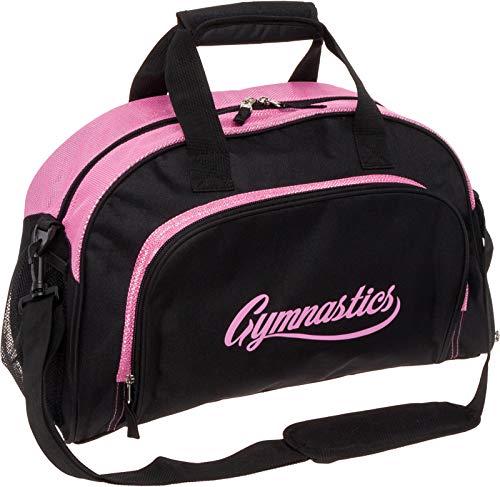 LISH Gemma Gymnastics Duffel Bag - Girl's Travel Sports Gym Bag w/Shoe Compartment (Black/Pink) (Gymnastic Bag)
