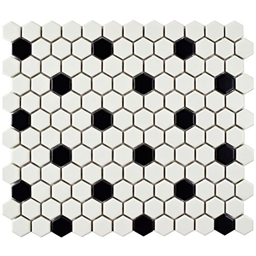 White Porcelain Floor Tiles (SomerTile FDXMHMWD Retro Hex Porcelain Floor and Wall Tile, 10.25