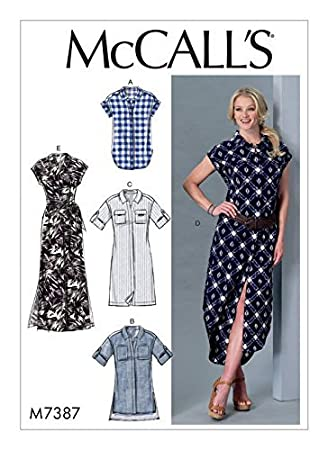 MCCALLS M7387 SIZE 16-26 MISSES TOP, TUNIC, DRESSES & BELT ~ SEWING ...