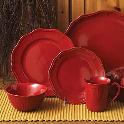 Better Homes 16 Pc Fluted Red Dinnerware Set & Amazon.com | Better Homes 16 Pc Fluted Red Dinnerware Set: Dish Sets ...