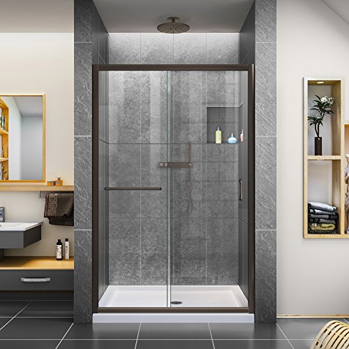 Bronze Frameless Shower Door - DreamLine Infinity-Z 44-48 in. W x 72 in. H Semi-Frameless Sliding Shower Door, Clear Glass in Oil Rubbed Bronze, SHDR-0948720-06