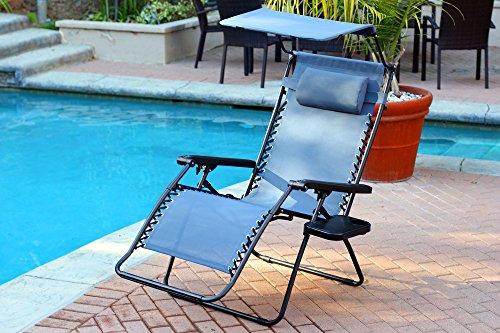 Jeco Set Of 2 Oversized Zero Gravity Chairs With Sunshade Blue