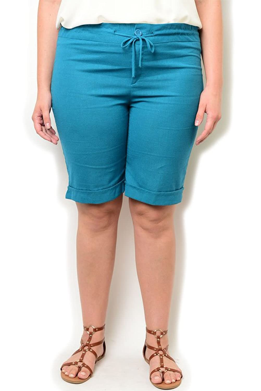 DHStyles Women's Plus Size Trendy Knit Cuffed Bermuda Shorts