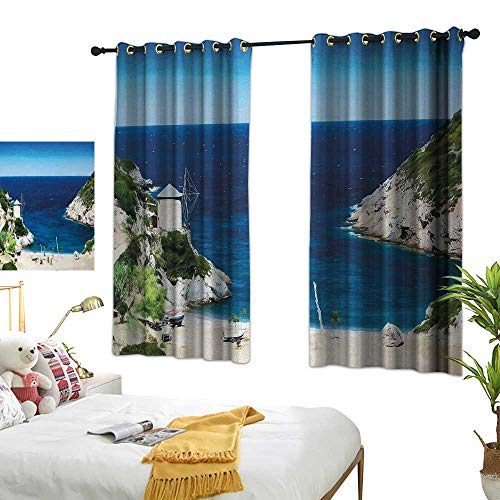 Bedroom Curtain W72 x L63 Beach,Rocky Sandy Cove North of The Old Town Alonissos Calm Seascape Idyllic Scenery,Blue White Green Living Room Dining Room Kids Youth Room Window ()