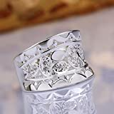 Hot sale 925 Silver Natural Crystal Wedding Ring Women Fashion Jewelry Size 7 8 (8)