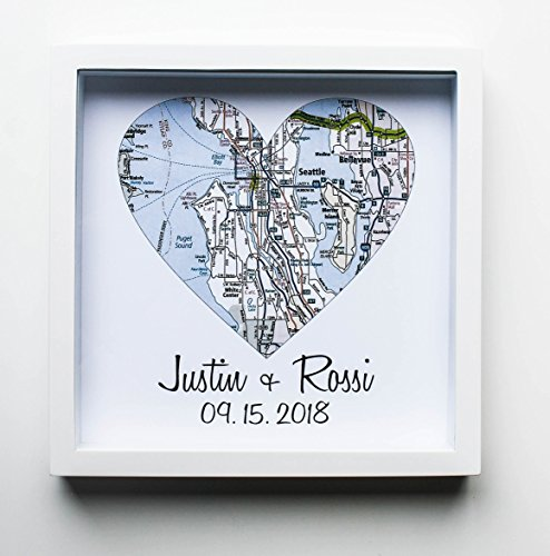 Heart Map Framed Art Map Heart Wedding Gifts
