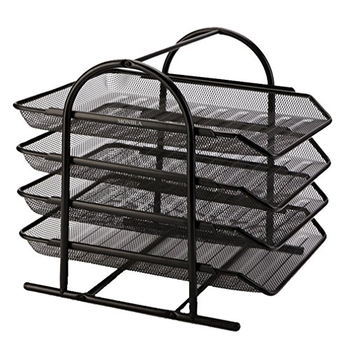 MONBLA 4-Tier File Rack Metal Mesh Letter Tray Scratch-Resistant Stackable Foolscap Rack Desk Document Organizer