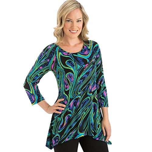 Collections Women's Abstract High Low Hemline 3/4 Sleeves Tunic, X-Large - Made in the USA (Skirt Collection Print Abstract)
