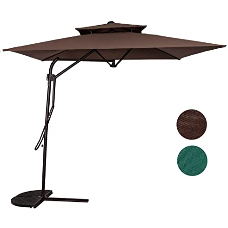 Sundale Outdoor 8.2Ft Rectangular Patio Offset Umbrella With Strong Sturdy  Double Canopy Construction And Hand