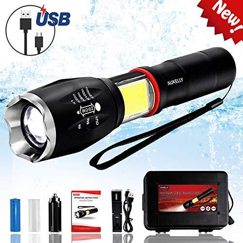 Aukelly LED Flashlight Rechargeable Flashlights High Lumens,Tactical COB Flashlight LED,Zoomable,6 Modes,Handheld USB Flashlight Altra Bright Handheld Flashlight For Camping,Emergency,with 18650 Batt