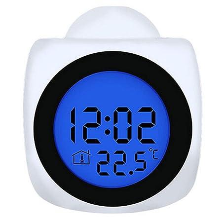 YNND Reloj Despertador De Proyección, Tiempo De Voz Proyector De ...
