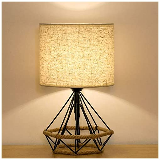 HAITRAL Bedside Lamp - Small Black Table Lamp Nightstand, Modern Hollowed  Out Base Lamp with Linen Fabric Shade Lamps for Bedroom, Living Room,Ideal  ...