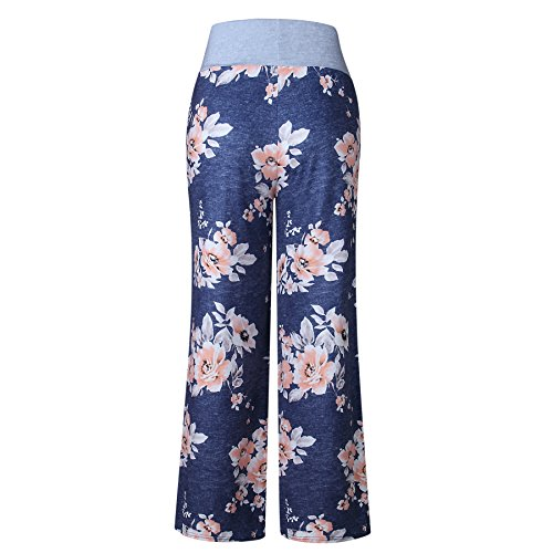 iChunhua Women's Comfy Stretch Floral Print Drawstring Palazzo Wide Leg Lounge Pants(XL,Blue) by iChunhua (Image #3)