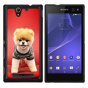 "Be-Star Único Patrón Plástico Duro Fundas Cover Cubre Hard Case Cover Para Sony Xperia C3 D2533 / C3 Dual D2502 ( Perro de perrito rojo animal doméstico divertido lindo canina"" )"