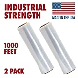 18 X 1000 Tough Pallet Shrink Wrap, 80 Gauge Industrial Strength Plastic Film, Commercial Grade Strength Film, Moving & Stretch Packing Wrap, For Furniture, Boxes, Pallets (2-Pack)