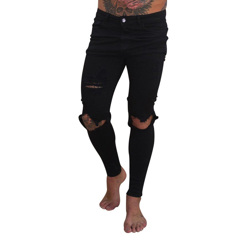 Nevera Men Slim Fit Pants Stretch Destroyed Ripped Skinny Denim Jeans Zipper Streetwear Black