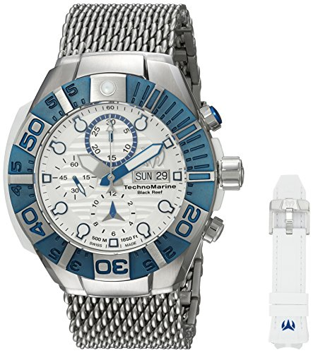 Technomarine Men's 'Reef' Automatic Stainless Steel and Silicone Casual Watch, Color:Two Tone (Model: TM-515024) (Steel Stainless Chronograph Technomarine New)